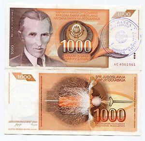 1992 (Nd) P2b 1000 Dinara Bosnia and Herzegovina Overstamped Vf Copy