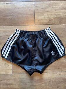 Adidas Sprinter Shorts Hose Shiny Glanz Satin Nylon Silky Retro Boxer D6 black