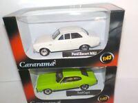 Ford Escort Mk1 White + Capri Mk1 Green. Cararama  1/43 Scale Cars