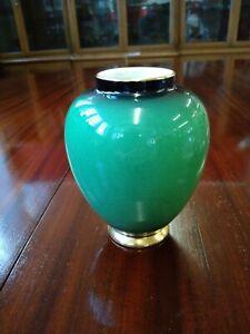 "Vintage Carlton Ware ginger jar /small vase ""Vert Royal ' hand-painted."