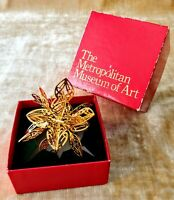 METROPOLITAN MUSEUM of ART 3D Star Christmas ORNAMENT Gold Plated w/Original Box
