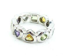925 Silver - Peridot Citrine Amethyst & Aquamarine Shiny Band Ring Sz 8 - R17060