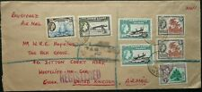 GILBERT & ELLIS ISLANDS 1957 REGIST. AIRMAIL COVER W/ HIGH FRANKING TO ENGLAND