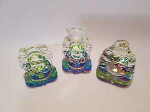 "Multi Coloured Crystal Glass Happy ""Lucky"" Buddha 6cm includes gift bag & story"