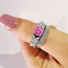 2.50Ct Round Cut Sapphire 14K White Gold Finish Engagement Wedding Band Ring Set
