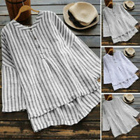 Women Stripe Loose Casual Shirt Tops Buttons Neck Cotton Ethnic Blouse Plus Size