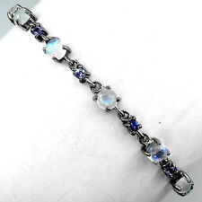 NATURAL MOONSTONE,TANZANITE BLACK RHODIUM PLATED on 925 SILVER BRACELET SZ 8