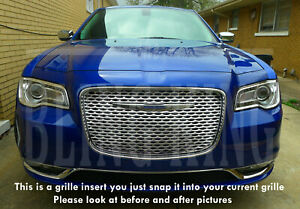 Fits 2015-2020 Chrysler 300 chrome mesh grille bentley grill insert overlay trim
