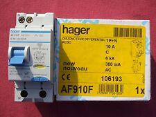 Réf AF910F OU AFC910F DISJONCTEUR DIFFERENTIEL HAGER 1P+N 10A 300mA type AC