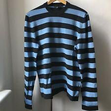 Very Cool Marc Jacobs 100% cashmere light blue black stripes jumper Italy Sz M