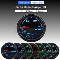 2'' 52mm LED Manomètre Jauge Pression Turbo Boost 30 PSI Mécanique 7 Couleur  !