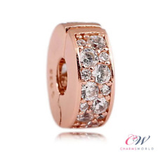 Rose Gold Crystal Pave Clip Charm 925 Sterling Silver Stopper 💞 Christmas Gift
