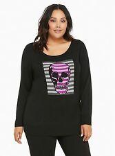 NWT Torrid Women's Plus Size 5 5X Black Striped Skull Tunic Sweater (VVV10)
