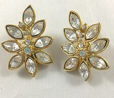 Monet clip on earrings rhinestone cluster leaf shape gold tone