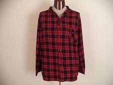 Women's Red Hanes Pajama Shirt. XL. 100% Cotton. Long Sleeve.