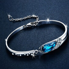 Hot Fashion Women Girls Blue Crystal Jewelry Silver Plated Charm Bracelet Bangle
