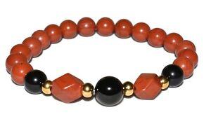 Red Jasper Black Tourmaline Bracelet Protection Crystal Healing Boho Jewelry