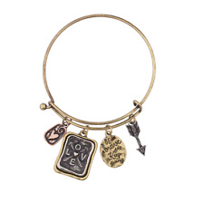 Lux Accessories Be Brave and Keep Going Inspirational Charm Bangle Bracelet