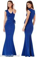 Goddiva Long Royal Blue Drape Bow Sleeveless Evening Prom Maxi Dress Bridesmaid