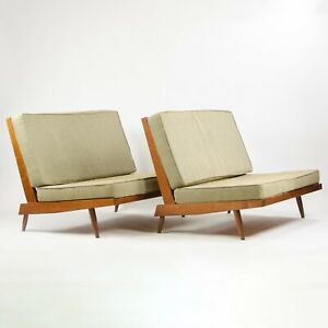 Pair of 1960's Original Vintage George Nakashima Studio Walnut Settee Loveseat