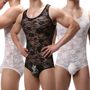 Mens Lace Sheer Bodysuit One-piece Jumpsuit Leotard Wrestling Singlet Gay Romper
