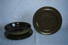 "Franciscan Maderia brown green set 3 dinner plates 9"" serving bowl EUC FS US"