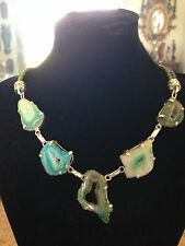 CHIC DOUBLE STRAND LEATHER TEAL & GREEN DRUZY AGATE CHOKER NECKLACE!
