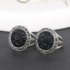 Black Crystal Silver Plated Rhinestone Full Drill Ring Finger Ring Jewelry