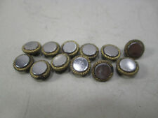 """12 Antique 5/16"""" Brass Topped Mirror Sewing Buttons"""