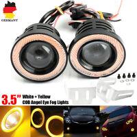 "3.5""Fog Angel Eyes Nebelscheinwerfer DRL Tagfahrlicht mit Gelb LED COB Halo Ring"