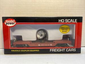 Model Power HO 40' Depressed Center Flat Car Searchlight Built 98220