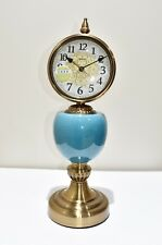 Blue Brass Table clock, Large dial, large numerals. Unusual design. Brand new.