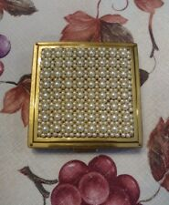 Vintage Ciner Powder Compact - Faux Pearl Top - Gold Tone