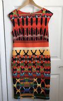 Star Julien MacDonald Shift Dress Size 14 Orange Abstract Statement Print