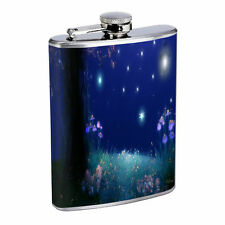Fireflies D6 Flask 8oz Stainless Steel Hip Drinking Whiskey Insect Glow Bugs