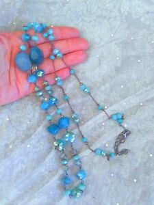 Blue Faceted Natural Stone Crystal Beads Long Fashion Necklace gunmetal chain