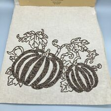 "Nicole Miller Beaded Pumpkin Table Runner Fall Thanksgiving Cloth Brown 72"" NEW"
