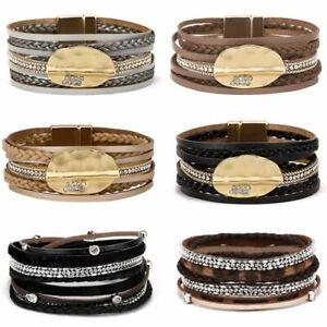 Fashion Leaf Multilayer Magnetic Leather Diamond Studded Bracelet Men Jewelry