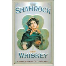Shamrock Irish Whiskey Drink Pub Bar Advertising Medium 3D Metal Embossed Sign