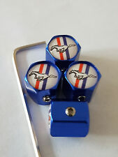 MUSTANG ANTI THEFT DUST VALVE CAPS LIMITED ALL MODELS RETAIL PACKED BLUE SHELBY