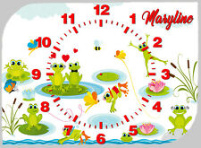 horloge pendule muraleou à poser grenouillepersonnalisée prénom choix réf F 56