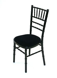 New Black Chiavari Chairs with Black Seat Pad, Silver wedding chairs party seat