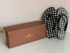 NEW! COACH AMEL RUBBER PAINTED GINGHAM BLACK SLIPPERS FLIP-FLOPS 5 35 SALE