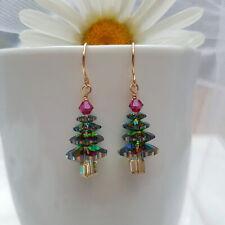Women Statement Christmas Tree Rainbow Crystal Drop Earrings Fashion Xmas Gift