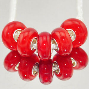 5 x Red Metallic Plain Vibrant Glass Bracelet Spacer Threader Charm Beads. 2153