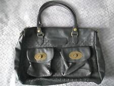 PIECES DENMARK, BLACK OVERSIZED FAUX LEATHER, ZIP UP,HAND BAG 14X11X4 INCHES