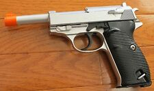 Full Metal Body,& Metal Magazine Walther P38 Airsoft Spring Pistol Silver Color