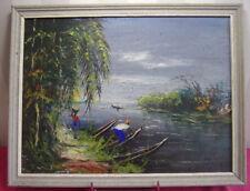 Peinture sur panneau, paysage d'Afrique, pirogues sur le fleuve. Signée Passy