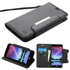 Black PU Leather Wallet w/ Card Slot & Stand Cover Phone Case For LG K20 Plus