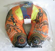 Australian Souvenir Orange Travel Pillow - Aboriginal Design